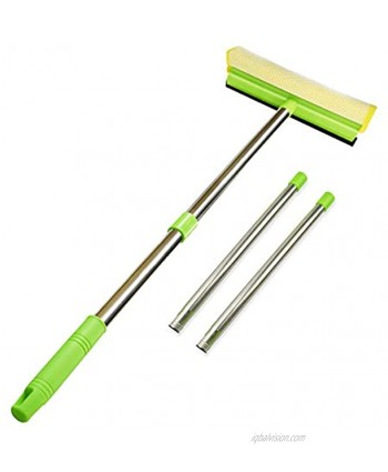 """ITTAHO Multi-Use Window Squeegee 2 in 1 Squeegee Window Cleaner with Long Extension Pole Sponge Car Window Squeegee with 58""""Long Handle for Gas Station Glass,Shower,Outdoor High Window Cleaning"""