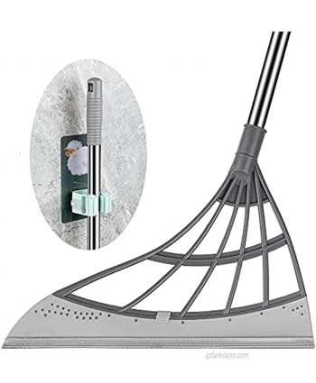 Multifunction Magic Broom Multifunction Wiper Broom Hook,Wipe Squeeze Silicone Mop Wash Floor Clean Tools Windows Scraper Pet Hair Non-Stick Sweeping and Kitchen(1 Pcs Gray Broom and Hook)