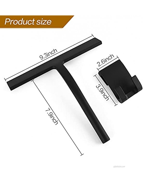 Silicone Shower Squeegee Silicone Car Squeegee Bathroom Squeegee with Silicone Hook for Shower Doors Car Window Squeegee Especially for Low Temperature Use Black