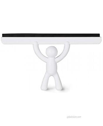 Umbra Buddy All-Purpose White Squeegee For Car Glass Window Mirror Durable Silicone Wiper Blade With Soft Buddy Non-Slip Hand Removes Water Spots From Shower Surfaces and Bathroom Mirrors
