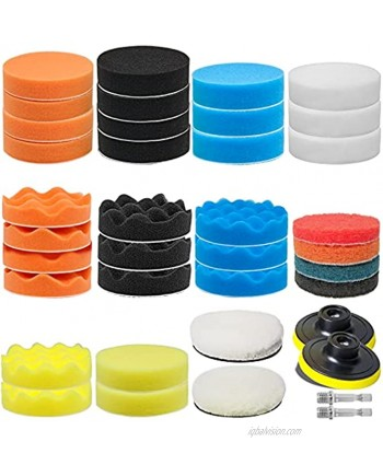 38 Pieces 3 Inch Buffing Polishing Pads GOH DODD Sponge Pads Car Foam Buffer Polisher Kit with Wool Pads Backing Plate M10 Drill Adapter for Compounding Cleaning Polishing and Waxing