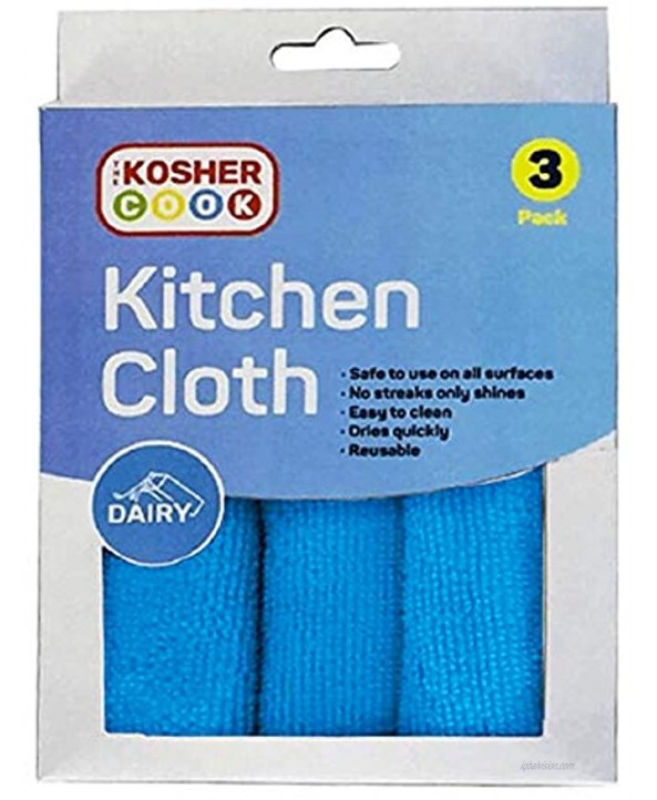 Dairy Blue Microfiber Dish Cloths 3 Pack – Quick Drying Highly Absorbent Rags for Cleaning and Drying Counters Dishes and More – Color Coded Home and Kitchen Accessories by The Kosher Cook