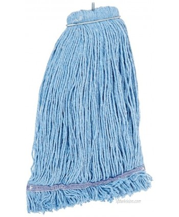 Impact 36132 Layflat Screw-Type Cut-End Blend Wet Mop Head with No-Tangle Band 32 oz Blue Case of 12