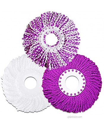 Mop Head Replacement Refill 3 Pack Spin Mop Replacement Head Round Size 6.3 inch Purple White