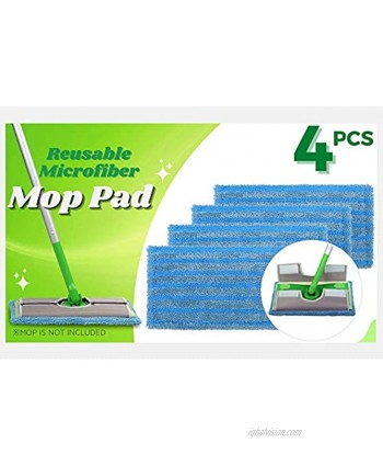 4 Pack Reusable Wet Dry Pad for Swiffer Sweeper Microfiber Washable Mop Pad Floor Cleaning Pad