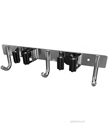 Mop and Broom Holder Wall Mount Heavy Duty Stainless Steel SUS304 Broom Organizer Wall Mount for Laundry Room Garden Garage Closet Kitchen – 2 Broom Hanger Positions with 3 Broom Hooks Black