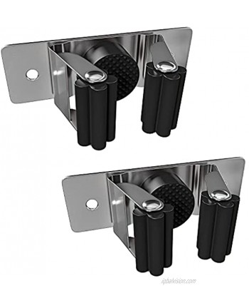 Mop and Broom Holder Wall Mount Heavy Duty Stainless Steel SUS304 Broom Organizer Wall Mount for Laundry Room Garden Closet Kitchen Garage Storage Rack – Screw and Self Adhesive 2 Pack Black