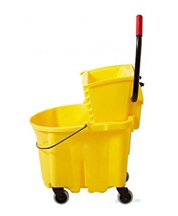 Boss Cleaning Equipment B005008 Down Press Mop Bucket 35 Quart Yellow Removable Divider