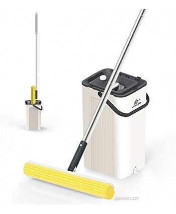 LEARJA PVA Mop Hands-Free Rinsing and Wringing Bucket Set with 2 Super Absorbent Sponge Mop Heads Refills and Long Handle for Hardwood Laminate Marble Ceramic Floors Both Dry and Wet Use Beige