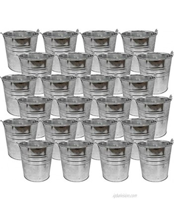 """Set of 24 Mini Galvanized 5"""" x 5"""" Tin Pail- Useful for Cleaning Tools Beach Days Decorations and More! Perfect for Any Job Around The House or in The Yard!"""