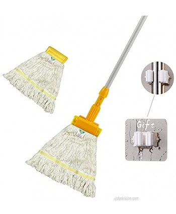 KLHB-YF yellow wet mop polyester-cotton yarn mop with a 51-inch thick aluminum alloy rod with an additional mop head can be used for floor cleaning in home hotel hospital and factory
