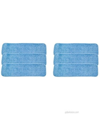 """LTWHOME 18"""" Microfiber Commercial Mop Refill Pads in Blue Fit for Wet or Dry Floor Cleaning Pack of 6"""