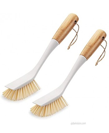 Amazer 2-Pack Dish Brush Scrub Brush Cleaner with Bamboo Long Handle Good Grip Kitchen Dish Washing Brushes for Pot Pan Plate Cleaning