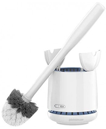 MR.SIGA Toilet Bowl Brush and Holder Premium Quality with Solid Handle and Durable Bristles for Bathroom Cleaning White 1 Pack