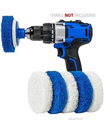 RotoScrub 7 Pack Multi-Purpose Drill Brush Kit for Cleaning Bathrooms Showers Tubs Tile Floors Sinks Toilets Grout and Grime Removal Reversible Blue and White Scrub Pads
