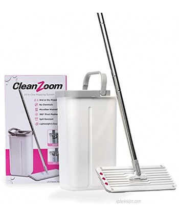 CleanZoom Reusable Mop and Bucket Set Wet or Dry Compact Flat Mop and Bucket System Dual Chamber Bucket with Microfiber Pad
