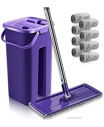 Flat Floor Mop and Bucket Set with 8 PCS Reusable Microfiber Refills Self-Wringing Mop Bucket with Long Handle Wet and Dry Squeeze Mop Use for Home and Kitchen Cleaning