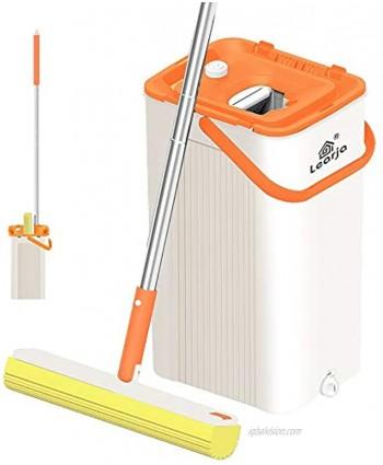LEARJA Sponge Mop Premium PVA Mop Hands-Free Washing Professional Mops Floor Cleaning Upgrade Squeeze Mop and Bucket with Wringer Set for Hardwood Laminate1 Orange Bucket + 1 Yellow Mop Head