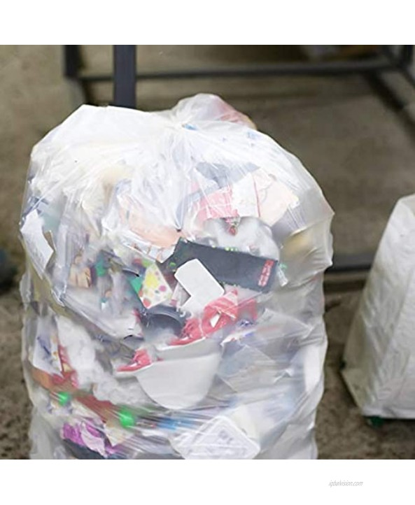 55-60 Gallon Clear Trash Bags 50 Count w Ties Large Clear Plastic Recycling Garbage Bags 38W x 58H Clear