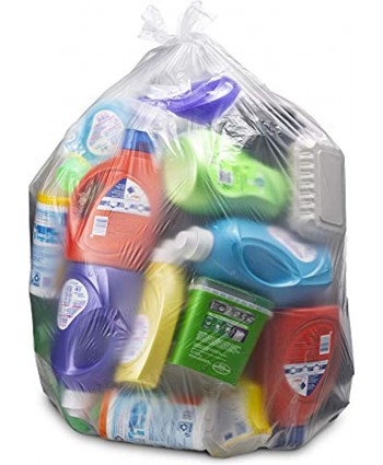 """55-60 Gallon Clear Trash Bags 50 Count w Ties Large Clear Plastic Recycling Garbage Bags 38""""W x 58""""H Clear"""