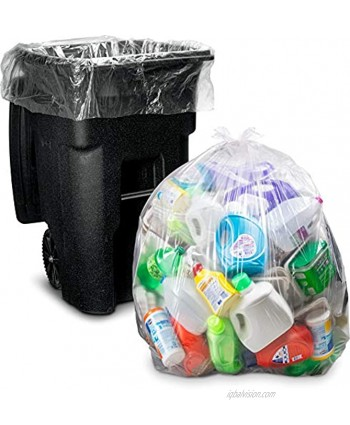 95-96 Gallon Trash Bags Huge 25 Count w Ties Extra Large Heavy Duty Clear Recycling Trash Bags 90 Gallon 95 Gallon 96 Gallon 100 Gallon