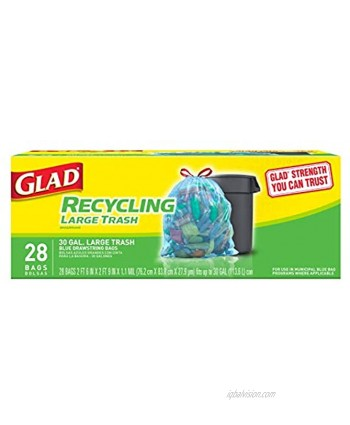 Glad Large Drawstring Recycling Bags 30 Gallon Blue Trash Bag 28 Count Package May Vary CXC-212