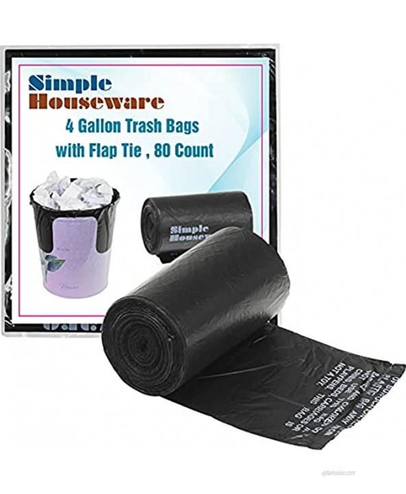 SimpleHouseware 4 Gallon Trash Bags Black 80 Count