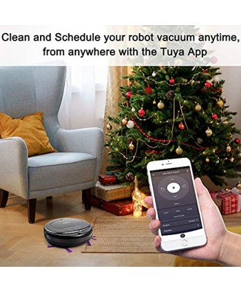 Luby Robot Vacuum Cleaner Vacuum and Mop Robotic Vacuum Cleaner Wi-Fi Connectivity Self-Charging Super-Thin Quiet Cleans for Pet Hair Hard Floors Low-Pile Carpets Black
