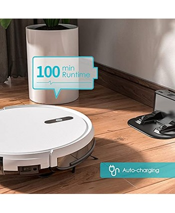 Robot Vacuum Cleaner Smart Self-Charging Auto Vacuum Cleaner Robot Slim and Quiet with Remote Control Ideal for Pet Hair Hard Floors and Low-Pile Carpets White