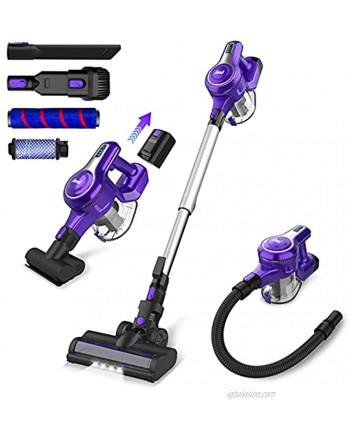 INSE Cordless Vacuum Cleaner 23KPa Powerful Suction Stick Vacuum Up to 45min Runtime Rechargeable 2500mAh Battery 10 in 1 Quiet Lightweight Vacuum for Home Hard Floor Carpet Car Pet Hair-S6 Violet