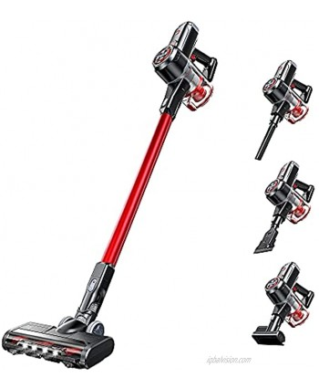V20 Cleaner 25Kpa Strong Suction 40 mins Runtime Ultra-Quiet Lightweight Detachable Battery 6 in 1 Cordless Stick Vacuum for Deep Clean Pet Hair Carpet Hard Floor Red…