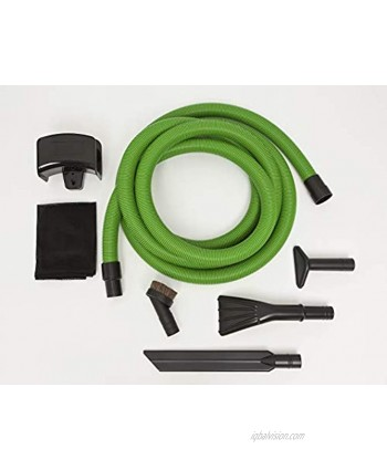 """Flexaust Garage Car Cleaning Kit w 1.5"""" ID x 20' high Visibility Green Hose 29""""hg and Accessories"""