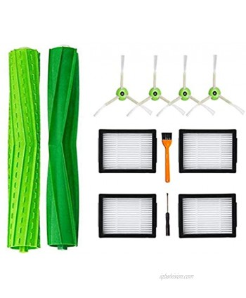 DLD Replacement Accessory Kit for iRobot Roomba i7 i7+ i7 Plus E5 E6 Vacuum Cleaner.Replacement Parts Set 2 Set of Multi-Surface Rubber Brushes,4 Side Brushes,4 Filters,1 Tools