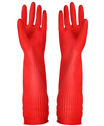 Rubber Cleaning Gloves Kitchen Dishwashing Glove 3-Pairs,Waterproof Reuseable.Small