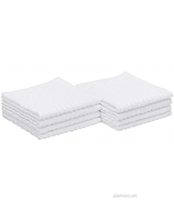 Basics 100% Cotton Kitchen Dish Cloths 12 x 12-Inch Absorbent Durable Ringspun Cloth 8-Pack White