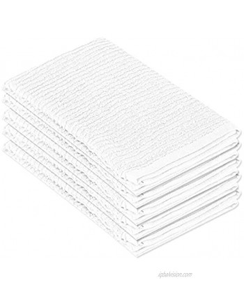 DecorRack 5 Pack 100% Cotton Bar Mop 16 x 19 inch Ultra Absorbent Heavy Duty Kitchen Cleaning Towels Whites 5 Pack