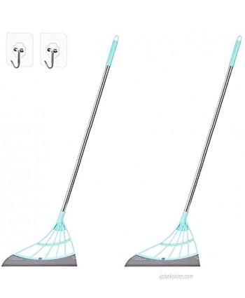 2 Packs Multifunction Magic Wiper Broom Sweeper Silicone Squeegee Broom Multifunctional Scraping Broom Sweeping The Floor Bathroom Water Wipe Squeeze Silicone Mop with Hooks Green