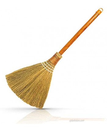 """Natural Whisk Sweeping Hand Handle Broom Vietnamese Straw Soft Broom for Cleaning Decoration Items Indoor Outdoor 7.87'' Width 24.4"""" Length Small"""